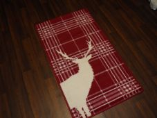 Modern Approx 4x2 60cm x 110cm Novelty range new checked stags Red/cream rugs